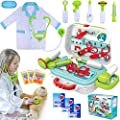 INNOCHEER Kids Doctor Kit 20 Pieces Pretend-n-Play Medical Toys Set with Roleplay Doctor Costume and Carry Case for Little Girls Ages 3+ from INNOCHEER