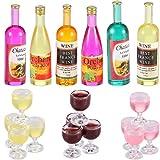 Sumind 18 Botellas de Vino Copas de Champán de Casa de Muñecas Copas de Vino en Miniatura Mini Botellas de Vino Tinto de Colores Botellas de Bebida en Miniatura de Cocina