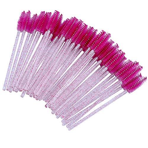 G2PLUS 100PCS Desechables Cepillos de Pestañas,Rimel Cepillos,de Maquillaje Pinceles Aplicadores para Maquillaje de Cejas,Cepillo pestañas Crystal Rod