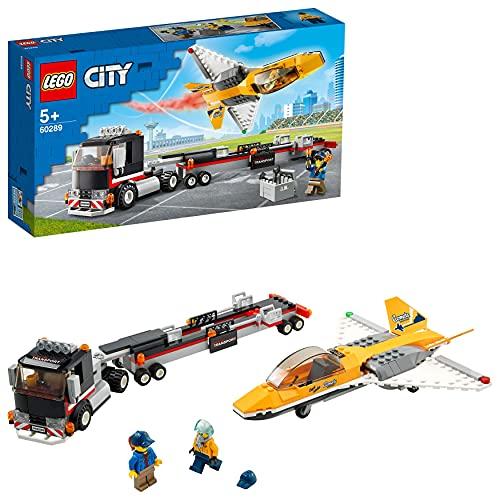 LEGO60289CityGreatVehiclesAirshowJetTransporterTruckToywithTrailerandJetAeroplane