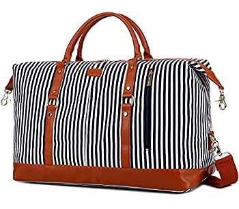 BAOSHA HB-14 Canvas Travel Tote Duffel Bag Carry on Weekender Overnight Bag Oversized for Women and Ladies  Blue Strip