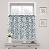 WAVERLY Donnington-Rod Pocket Curtains for Kitchen and Bathroom, Double Panel, 52' x 36', Cornflower