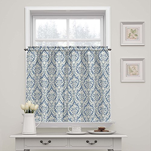 """WAVERLY Donnington-Rod Pocket Curtains for Kitchen and Bathroom, Double Panel, 52"""" x 36"""", Cornflower"""