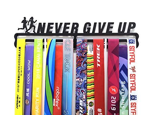 Medaillen Aufhängen Wand für Laufen Halter Display Rack, Schwarz Super Hart Stahl Metall,Wandmontage Medaillenhalter für Never Give Up Laufsport,Tolles Geschenk für Läufer