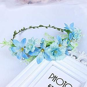De Navidad Guirnalda De Flores Artificiales,Azucena Azul Pequeña Flor Vintage Accesorios De Cabello Novedad Bohemio…