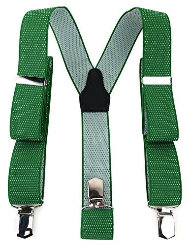 TigerTie Unisex Hosenträger in Y-Form mit 3 extra starken Clips - Farbe in grün weiß gepunktet - hochwertige Verarbeitung - Breite 35 mm