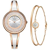 MAMONA Women's Rose Gold Bangle Watch and Bracelet Set L3889RGGT