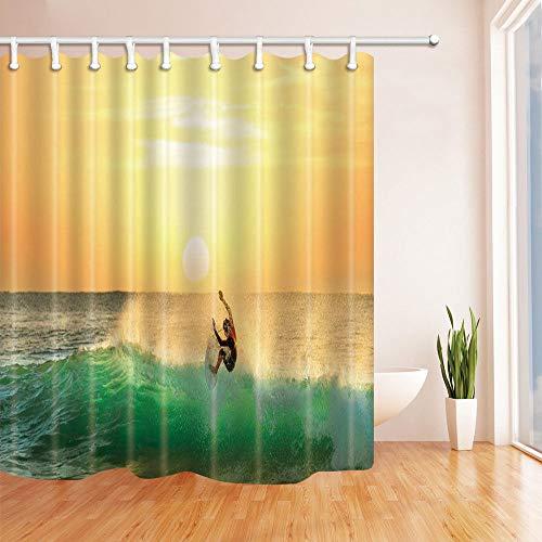 Extreme Surfen Badezimmer Duschvorhang, wasserdicht, mit 12 Haken, 183 x 183 cm
