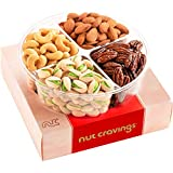 Gourmet Nut Gift Basket in Red Box (4 Piece Assortment) - Prime Arrangement Platter, Birthday Care Package Variety, Healthy Food Kosher Snack Tray for Families, Women, Men, Adults