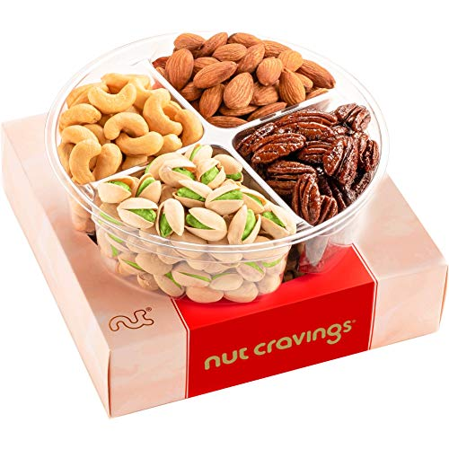 Holiday Nuts Gift Basket, 4-Sectional Elegant Mixed Nuts Assortment, Gourmet Christmas Food Box...