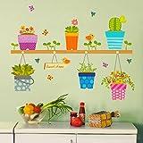 ufengke Plantas En Macetas Flores Mariposas Calcomanías De Pared, Sala de Estar Dormitorio Removible Etiquetas de la Pared Murales