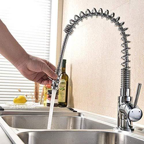 Grifo monomando de resorte para fregadero de cocina, grifo extraíble, mezclador con manija de chamusquina, grifo giratorio de primavera para cocina