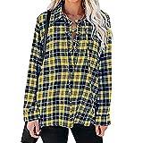 Camisa suelta de manga larga para niñas, estilo de ocio de otoño para mujer, solapa de temperamento, solapa a cuadros con solapa frontal, amarillo, M
