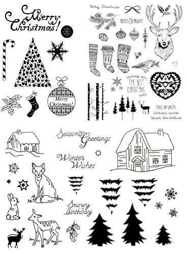 be fancy! Silikonstempel Set Weihnachten Winter - Clear Stamps - DIY Stempel - 58 Motive - transparent