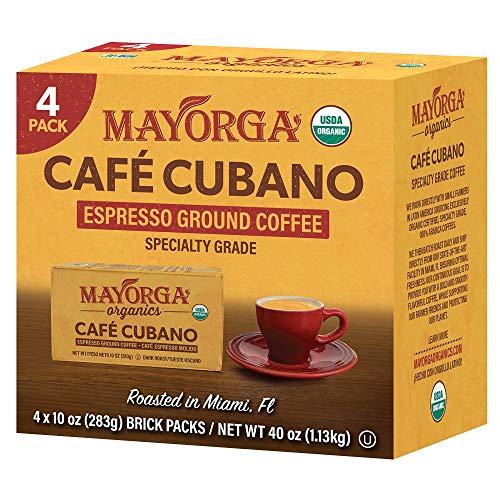 Mayorga Organics Café Cubano Roast, Espresso Ground Coffee, Dark Roast (4 x 10 ounce Bricks)