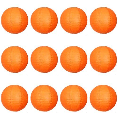 30,5 x 30,5 cm Orange Lanterne en papier ronde avec nervures en fil – Value Pack