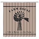 Sunhe Farmhouse Shower Curtain, Rustic Sawyer Mill Charcoal Windmill Farm Fine Grains Livestock Feed Vintage Pattern Fabric Bathroom Decor Sets with Hooks