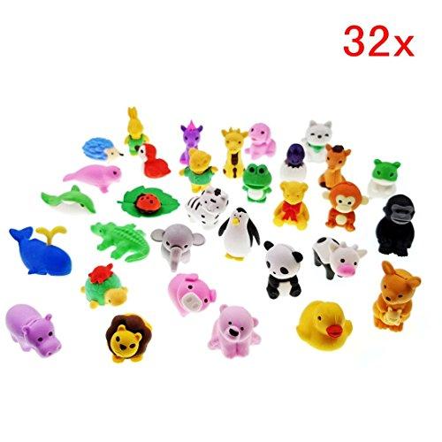 JZK 32 x Abnehmbar klein Radiergummi Mini Tier Radiergummi Satz Kinder Spielzeug Geschenk für Geburtstag Party Weihnachten Festival