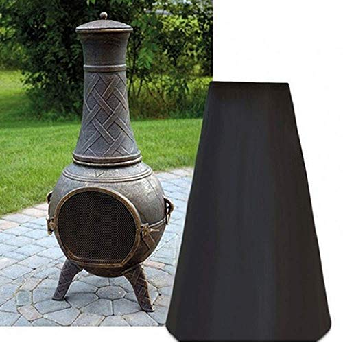 YOUTH BURST Étanche Heavy Duty Chiminea Cover Protector Woodside Black Waterproof Outdoor Garden Chimnea Cover,84x21x48CM
