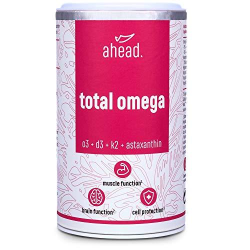 ahead TOTAL OMEGA | Omega 3 Fischöl Kapseln hochdosiert | 2250mg pro Tagesdosis mit Vitamin D3 + K2 + Astaxanthin + Pfefferminzöl | 90 Kapseln | Frei von Schadstoffen | Hergestellt in Deutschland