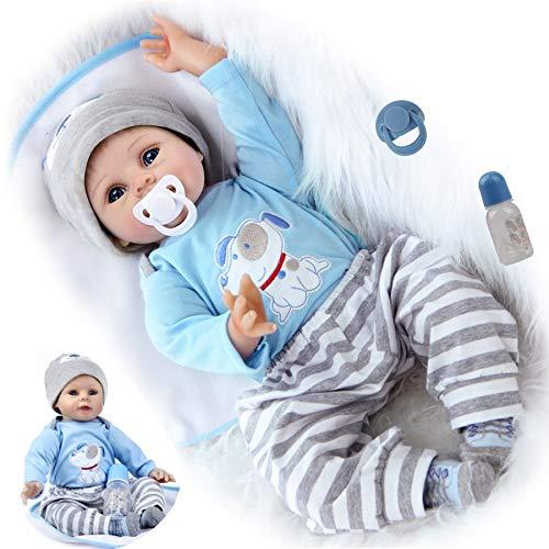 ZIYIUI Reborn Baby-Puppe Weiches Vinylsilikon Realistisch Baby Puppe lebensecht Reborn Baby Junge Mädchen Handgemacht Neugeborene Echte Babypuppe (Reborn Babys Junge)