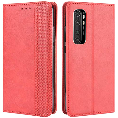 HualuBro Handyhülle für Xiaomi Mi Note 10 Lite Hülle, Retro Leder Stoßfest Klapphülle Schutzhülle Handytasche LederHülle Flip Hülle Cover für Xiaomi Mi Note 10 Lite Tasche, Rot