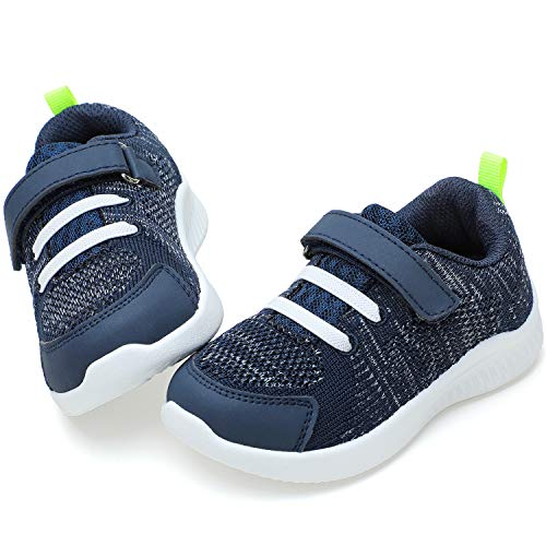 nerteo Toddler Athletic Running Shoes Boys, Kids Fashion Sneakers for Walk Navy/Green 11 M US Little Kid