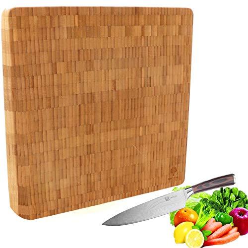 SCHOBERG XXL Schneidebrett Holz Küchenbrett MASSIV mit Auffangschale 40 x 40 x 3cm Schneidunterlage für Fleisch, Gemüse und Käse. Professionell, langlebig und widerstandsfähig