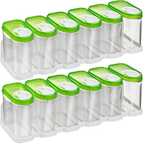 Kigima Gewürzdosen Schüttdosen Streudosen Vorratsdosen 0,25l 12er Set mit 2 Regalen grün