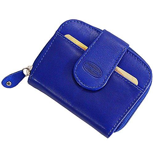 BOCCX ausgefallene Damen-Geldbörse Kleiner Geldbeutel aus Leder Portemonnaie in hochwertiger Verarbeitung 10031 (Blau)