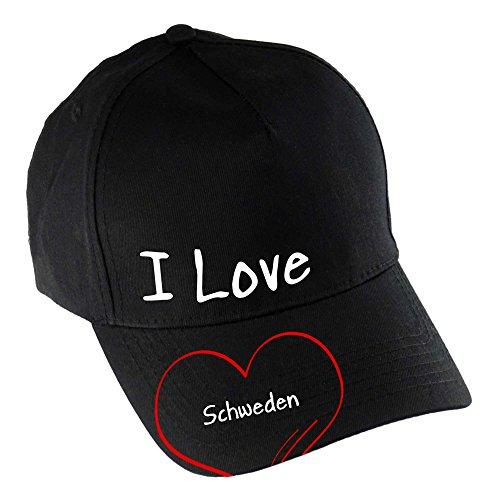 multifanshop Baseballcap Modern I Love Schweden schwarz 100% Baumwolle - Cap Kappe Mütze Baseballkappe Schirmmütze Basecap Käppi