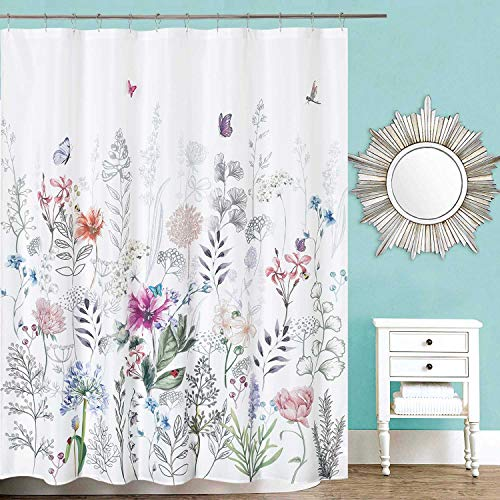 Flowers Colorful White Shower Curtain with 12 Hooks for Bathroom,Embroidery Butterfly,Farmhouse,Country and Rustic Large Floral Curtains,72x72 Long