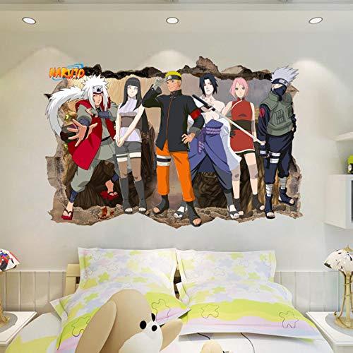 Regalo de bricolaje para niños Naruto Amine avance 3D Pegatinas de pared Decoración Vinilo Decal Poster Mural extraíble