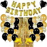 Decoraciones de Fiesta de Cumpleaños Globos,Fiesta cumpleaños Negro Oro Globos de Látex,Suministros de Cumpleaños Individuación para Niños Niñas