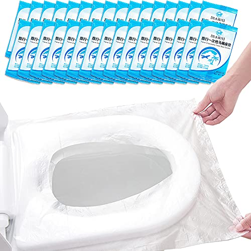100 fundas desechables de plástico para asiento de inodoro, fundas de asiento de inodoro portátil, protectores para entrenamiento de orinal de niño pequeño, embarazada, adultos, paquete individual