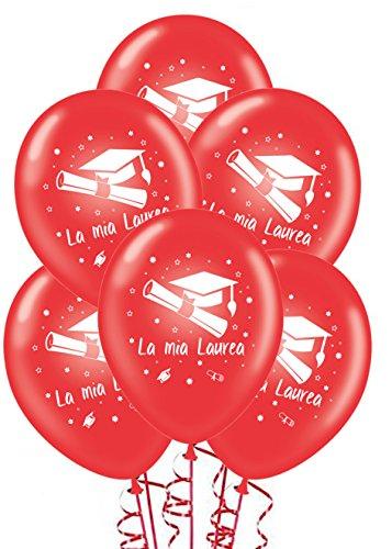 ocballoons 20 Palloncini Laurea Rossi Biodegradabili Made in Italy Addobbi e Decorazioni per Feste Party Gonfiabili con Bombola Elio