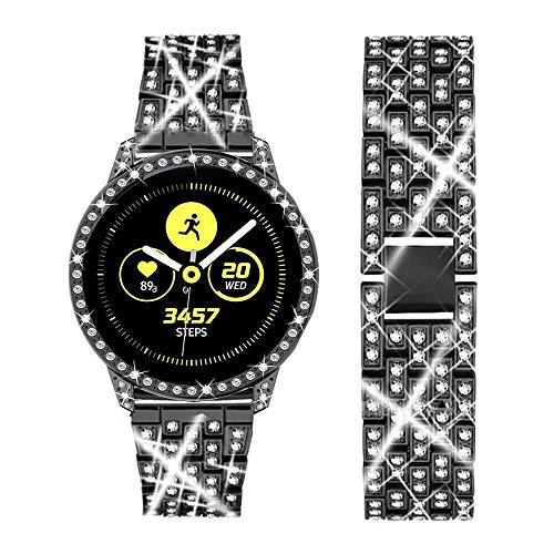 DEALELE Cinturino Compatibile con Samsung Galaxy Watch Active, Bracciale in Metallo Acciaio Inossidabile Diamante Lucido con Custodia Protettiva, Nero