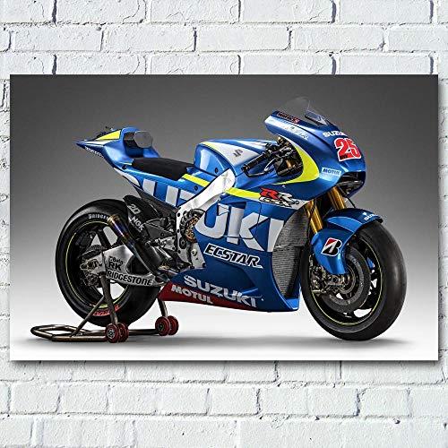 VVSUN Suzuki GSX Blue Auto Superbike Motorrad Rennrad Wandkunst Poster Leinwanddrucke Gemälde für Moderne Raumdekoration 50X75cm 20x30inch kein Rahmen