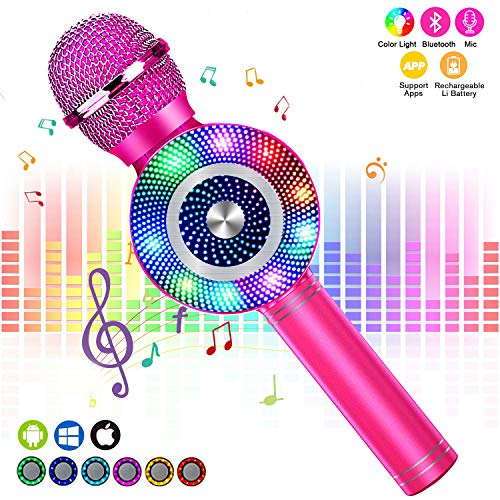 FishOaky Karaoke Microphone, Kids Bluetooth Karaoke Microphone Portable Mic Player Speaker with LED for Christmas Birthday Home Party KTV Outdoor