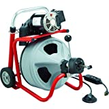 RIDGID 27008 K-400AF Drum Machine with 3/8 Inch Solid Core Integral Wound Cable and AUTOFEED Control, Drain Cleaning Machine and Drain Auger
