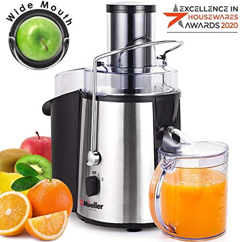 Mueller Austria Juicer Ultra 1100W Power, Easy Clean Extractor Press Centrifugal Juicing Machine, Wide 3' Feed Chute for Whole Fruit Vegetable, Anti-drip, High Quality, BPA-Free, Large, Silver