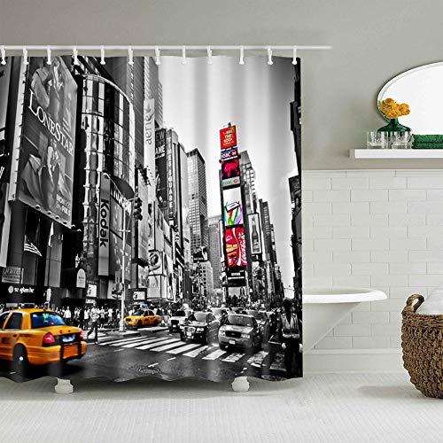 BWBJJ Duschvorhang New Yorker Taxi 150x200 cm Wasserdicht Antischimmel Polyester Badezimmer Gardinen mit 12 Haken