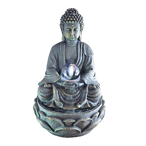 Zen Light SCFRB8G mediation Large Buddha Indoor Fountain, Dark Chocolate Brown 21 x 21 x 30 cm