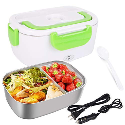 Electric Lunch Box for Car and Home 110V & 12V 40W, Portable Food Warmer Heater 1.5L, Food-Grade Stainless Steel Container, Spoon and 2 Compartments Included (Orange)