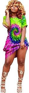 MITCOWBOYS Dresses for Women Casual Summer Sexy Off Shoulder Shirt Dress Plus Size Rainbow Tie Dye Midi Dress