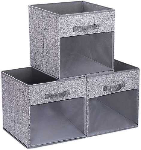 DIMJ Aufbewahrungsbox aus Stoff, 3 Stück Schränke Aufbewahrungskorb Boxen Faltbare Aufbewahrungskiste für Regale,27*27*27cm Speicherwürfel Perfekt für Kleidung, Quilts, Spielzeug, Bücher usw.