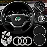 Bling Steering Wheel Decorative Diamond Sticker Compatible with Toyota, Car Coasters and Start Button Rings, Bling Car Interior Accessories for Toyota Corolla/Camry/Rav4/4runner/Highlander/MARKX