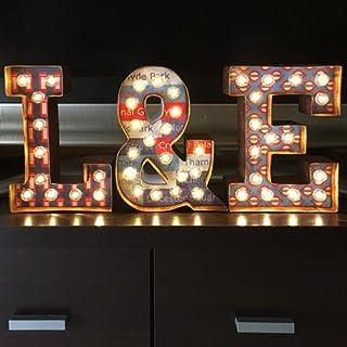 Kit de letras luminosas para ENAMORADOS: letras luminosas decoradas con temática inspirada en Londres, pintadas y envejeci...