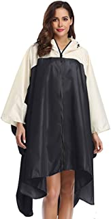 Summer Mae Rain Poncho Jacket Coat for Adults Hooded Waterproof with Zipper Outdoor