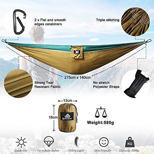 NatureFun Ultraleichte Camping Hängematte / 300kg Tragfähigkeit, Atmungsaktiv, schnell trocknende Fallschirm Nylon / Enthalten 2 x Premium Karabinerhaken 2x Nylonschlingen / Fürs Freie oder einen Innengarten - 2
